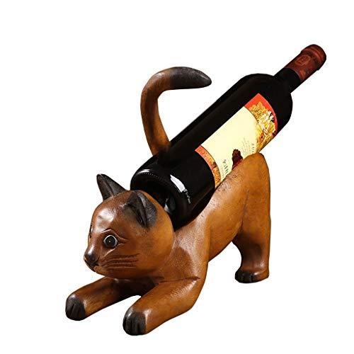 Botelleros Botellero vino Sólido Madera estante del vino caprichosa del gato escultura estatuas de animales gatito Vino Titular de la botella de vino de mesa estante vino destaca Holder Decoración Int