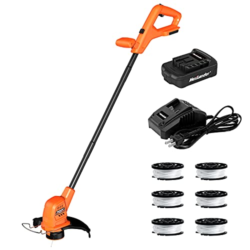 MAXLANDER String Trimmer, 20V 10-Inch Cordless String Trimmer/Edger with 6 Rolls of Spool Lines, 2.0Ah Battery and Charger, Length Adujstable, Powerful&Lightweight