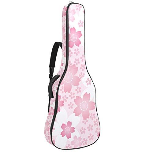 Funda de Guitarra Española Cereza Romántica Rosa Bolsa Acolchada Para Guitarra Acústica con Asa de Transporte y Correa Para el Hombro 109x43x12cm