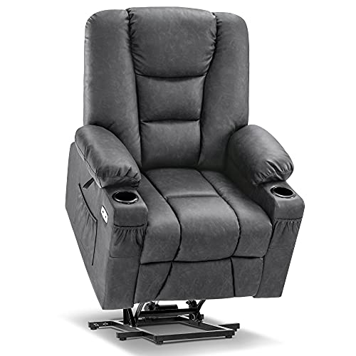 Mcombo Power Lift Recliner Chair with Massage and Heat for Elderly, Extended Footrest, 3 Positions, Lumbar Pillow, Cup Holders, USB Ports, Faux Leather 7519 (Medium, Dark Grey)