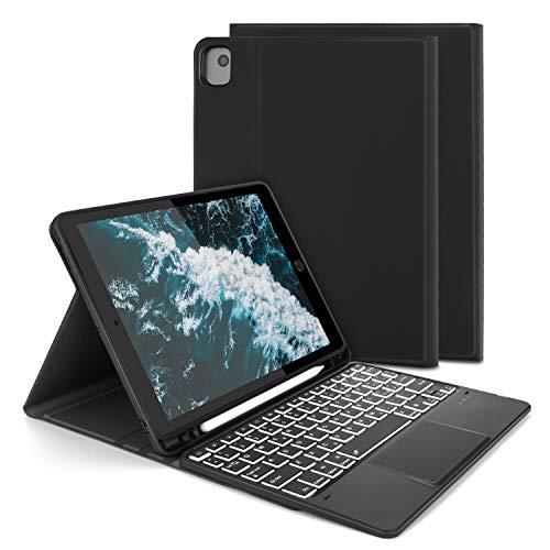 Jelly Comb Custodia con Tastiera Trackpad per Nuovo iPad 10.2 2020/2019 (iPad 7a/8a Gen) /iPad Pro10.5/iPad Air 3 10.5, Tastiera Italiana QWERTY Retroilluminata a 7 Colori con Touchpad- Nero