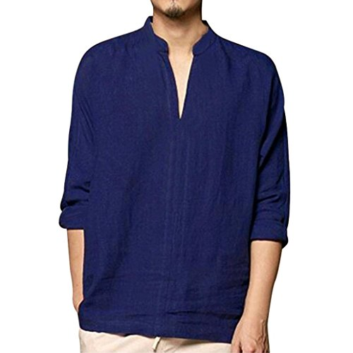 Clearance Sale Mens T Shirts vermers Men's Baggy Linen Long Sleeve Cotton Retro V Neck T Shirts Tops Blouse(XL, Navy)