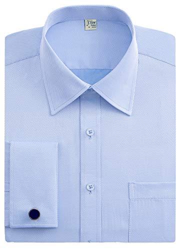 J.VER J.Ver Herren Hemd Französische Manschette Hemden Normale Passform Business Hemden Lange Ärmel mit Manschettenknöpfe aus Metall Geschäft