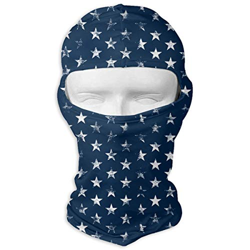 MKDOQS Fade White Stars Navy Full Face Mask Sun Dust Wind Protection Durable Breathable Seamless Face Mask Bandana
