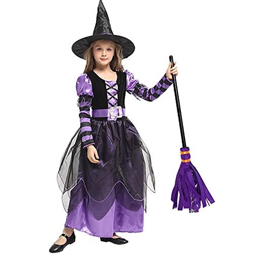 SHUOYUE Disfraz de Bruja Nia Disfraz Halloween Nias Bruja Ropa Costume con Sombrero Bruja Escoba Bruja Brillantes Estrellas Vestido Princesa Prpura para Fiesta Carnaval Cosplay Infantil (XL)