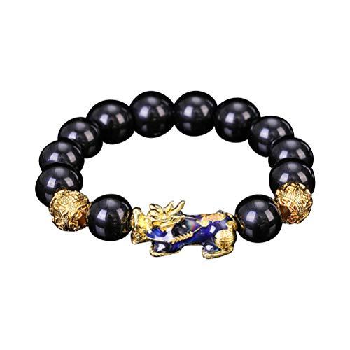 Yeaphy Pulseira de contas esculpida à mão Feng Shui, cor alterada com joias de contas de revestimento dourado, B