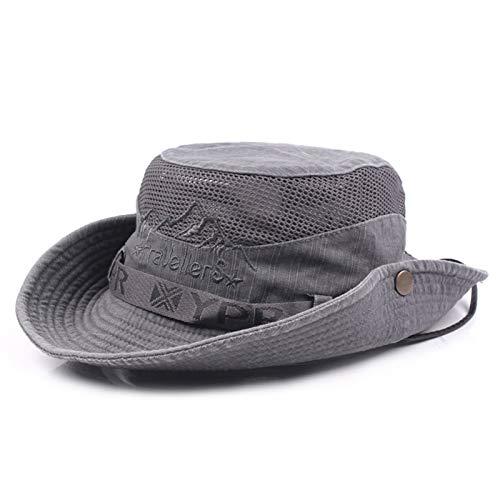 Charmylo Cappello da sole da uomo e donna, in cotone, con protezione UV, per escursionismo, pesca, trekking, safari, dal design pieghevole con sottogola grigio scuro 58