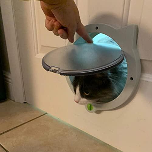 Piccola porta rotonda per gatti con serratura a 4 vie Porta sicura con serratura per finestra in plastica per animali domestici per gattini
