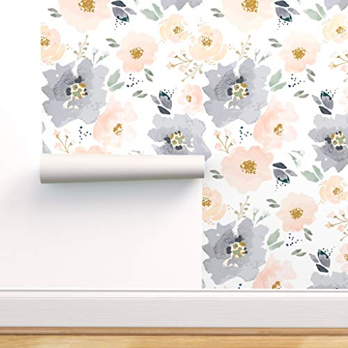 Spoonflower Peel and Stick Removable Wallpaper, Floral Peach Navy Print, Self-Adhesive Wallpaper 24in x 108in Roll