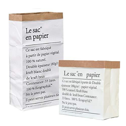 HAMILO クラフト紙バッグ 小物入れ クラフト紙収納ボックス インテリア ペーパーバッグ (4個セット)