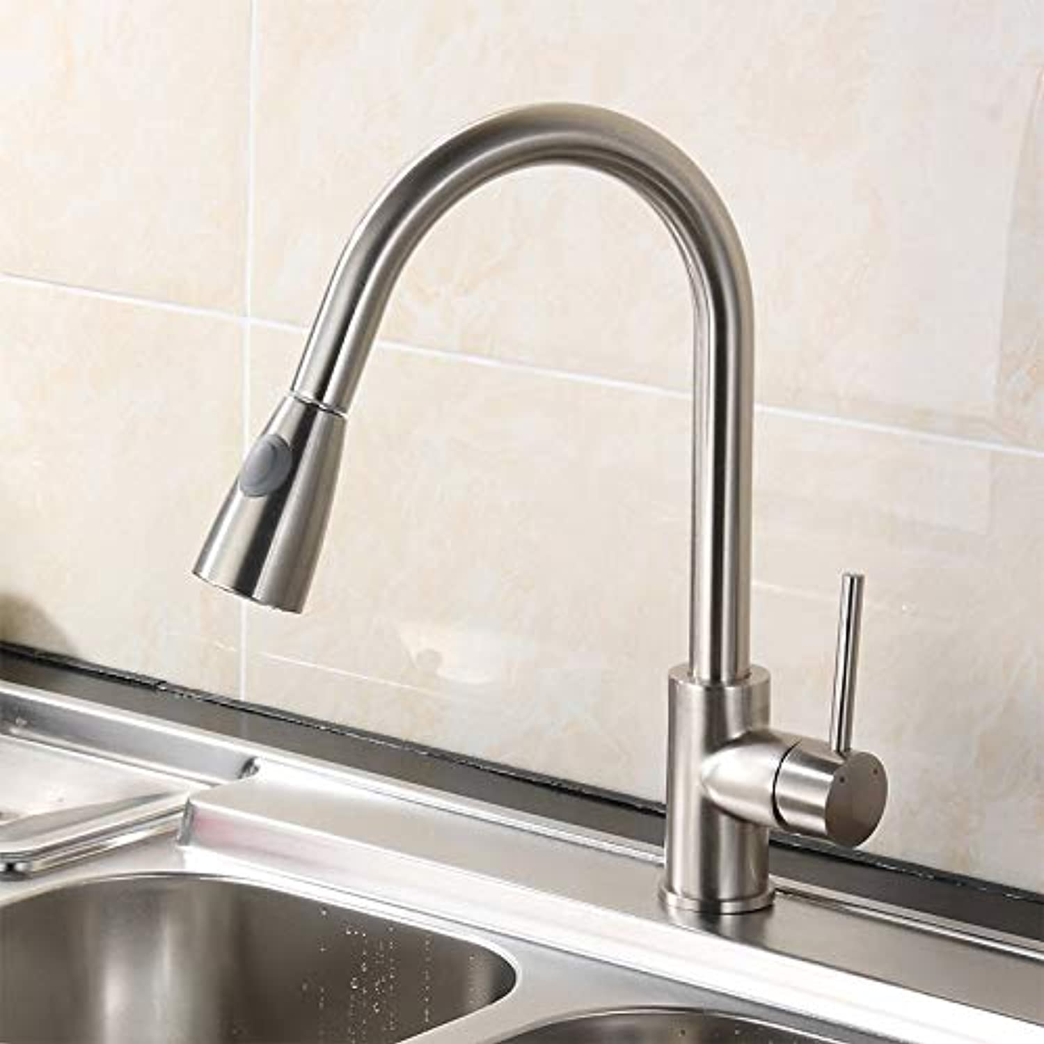 CZOOR 360 Degree Swivel Pull Out Black Kitchen Faucet Chrome Brass 2 Functions Mixer Sink gold Kitchen Faucet for Kitchen,PK-001N