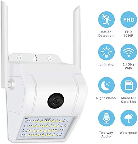 ZHENREN 1080P WLAN Kamera IP66 wasserdichte Überwachungskamera mit Licht Außen und Innen Überwachungskameras mit Lampe Zwei-Wege-Audio-Bewegungserkennung Aktivitätsalarm Abschreckungsalarm IP-Kamera