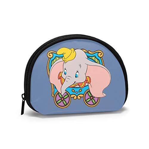 Dumbo Sentado en el Coche y Mirando hacia afuera Mini Monedero para Damas Almacenamiento de Billetes Zpper Security