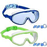 Yizerel Lot de 2 paires de lunettes de natation pour enfants et jeunes adolescents de 3 à 15 ans, large vision, antibuée, imperméable, protection UV
