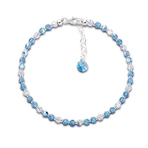 Schöner de SD, soporte collar de perlas swarovski® cristal en Aqua color...