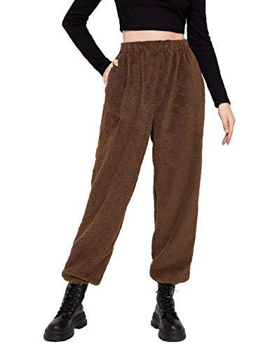 Damen Winter Hose Freizeithose Fleece Hose Sporthose Plüsch Warm Loose Lässig Hose Joginghose Yogahose S M L XL (Braun, M)