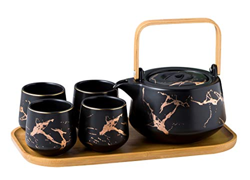 Jusalpha Marble Ceramic Teapot Set, Modern Japanese Tea Pot with Infuser for Loose Tea (40 OZ), 4-Piece Tea Cups (6.7 OZ) with Bamboo Tray - Tea Cups Set for Home and Restaurant, FDJPT4 (Black)