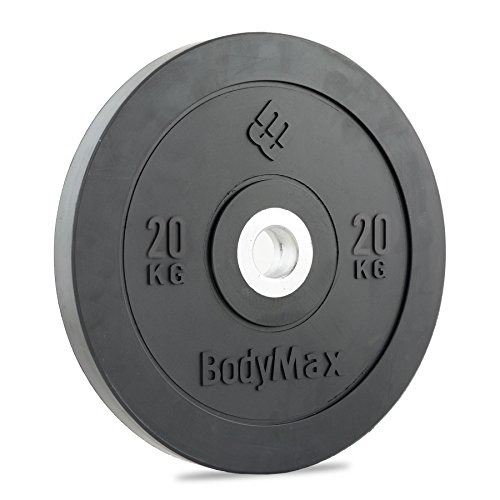 Bodymax Olympic Rubber Bumper Weight Disc Plate - Black 20kg