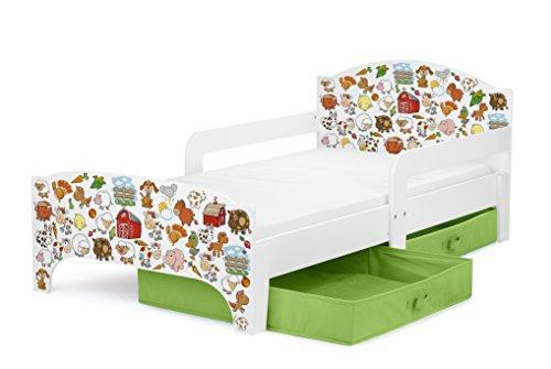 Leomark Moderne Smart Lit D'enfant Toddler 140x70 Motif Animaux à La Ferme Avec Rangement Plus Matelas Grand Tiroir En Textile 2 Pièces