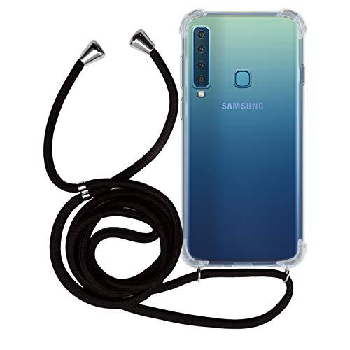 MyGadget Handykette für Samsung Galaxy A9 (2018) TPU Hülle mit Band - Handyhülle mit Handyband zum Umhängen Kordel Schnur Case Schutzhülle - Schwarz