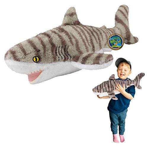 EcoBuddiez - Tiburón Tigre de Deluxebase. Peluche Grande de 53 cm elaborado con Botellas de plástico recicladas. Lindo Peluche ecológico con Forma de animalito para niños pequeños.