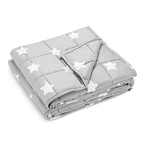 Navaris Manta con Peso de algodón - Edredón antiestrés de 8.8 KG con Funda - Colcha ponderada Relajante 1.35 x 2 M - Gris con Motivo de Estrellas