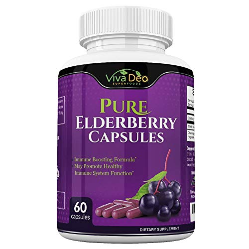 VIVA DEO Pure Elderberry Capsules – Made with Organic Elderberries - 60 Black Elderberry Capsules for Immunity Support - 1150mg Elderberry Fruit Extract Per Serving