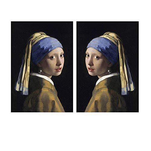 Chica con pendientes de perlas retrato lienzo pintura pared arte carteles impresiones pared cuadros decoración de la pared del hogar-50x75cmx2 sin marco