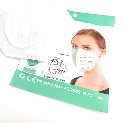 Farma Sana 30uds. x Mascarillas (blancas) FFP2 homologadas ( Certificadas CE2163) Profesionales y seguras, embolsadas individualmente. Disfruta de sus 5 capas de Alta Eficiencia Filtración BFE 95%