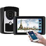 Wifi Video Doorbell, Video Door Phone Security Surveillance Kit, Intercom, Night Vision Camera + 7 Inch Display, Monitor and APP Unlock