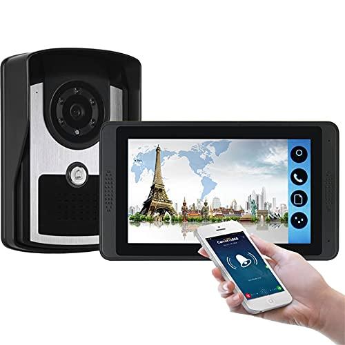 Timbre con video wifi, kit de vigilancia de seguridad con videoportero, intercomunicador, cámara de visión nocturna + pantalla de 7 pulgadas, desbloqueo de la APP del monitor
