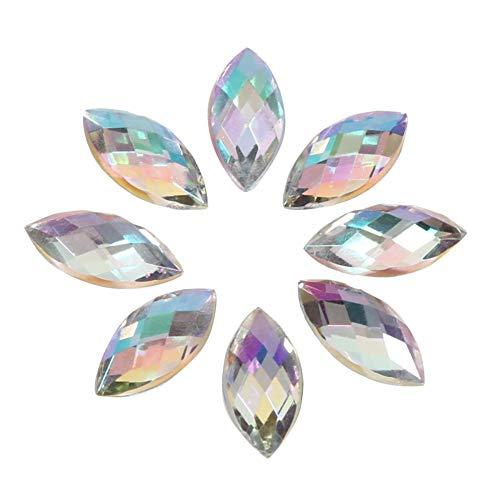 500 Stücke AB Acryl Kristalle, 7 * 15 mm Crystal Flatback Strasssteine, Wassertropfen Kristall Acryl Spezialeffekte Edelsteine für DIY Dekorationen(Silber)