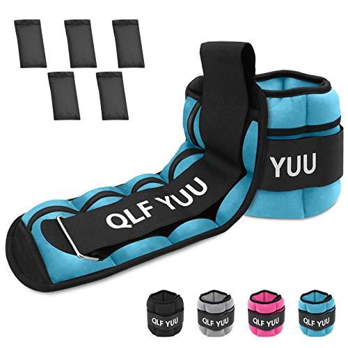 Qlf yuu Ankle Weights 1 Pair 0.5KG 1KG 1.5KG 2KG 3KG Leg Weights Adjustable Ankle Weights Women Men Kids, Ankle Weight Wrist Weights Set for Running Walking Fitness Gym Aerobics (Blue, 1KG)