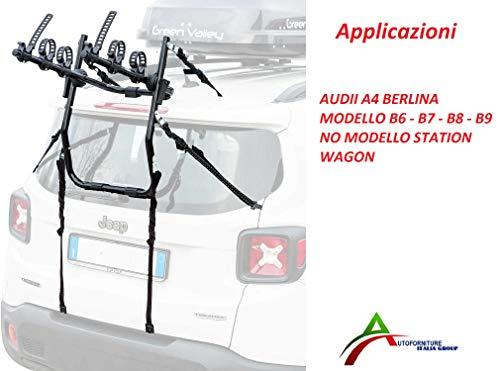 Portabicicletas montado y listo para usar (3 bicicletas) para puerta o maletero trasero para coche específico para Audi A4 Berlina modelo B6 – B7 – B8 – B9 (no versión Station Wagon)
