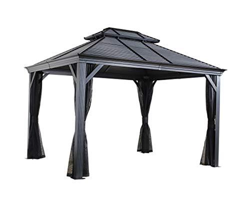 Sojag 10' x 12' Mykonos Double Roof Hardtop Gazebo Outdoor Sun Shelter, 10' x 12', Dark Grey