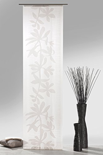 Fashion&Joy, type 409, schuifgordijn incl. accessoires, H x B 245 x 60 cm, natuurlijk van weefscherli met bloemenrank HxB 245x60 cm natuurlijk bruin
