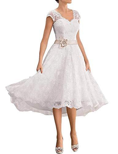VKStar® A-Linie V-Ausschnitt Spitzen Brautkleider Kurz Elegante Hochzeitskleider Standesamt Abendkleider Knielang Große Größen Weiß 56