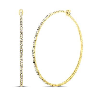 Steve Madden Rhinestone Hoop Earrings for Women (Yellow)