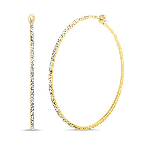 Steve Madden Rhinestone Hoop Earrings for Women (Yellow)