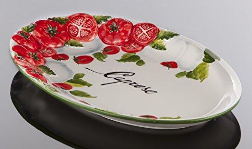 Bassano Ausgefallene italienische Keramik, ovale Tomaten Caprese Servierplatte 30x19