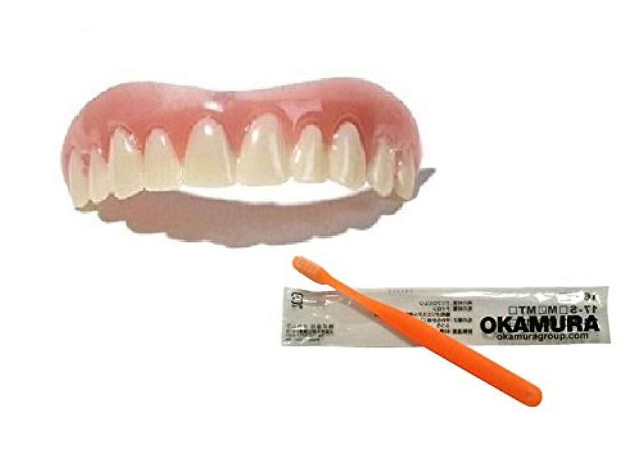 一般的に言えばカロリータップインスタントスマイル 上歯用 Sサイズ + OKAMURA 歯科医推奨歯ブラシ 限定セット