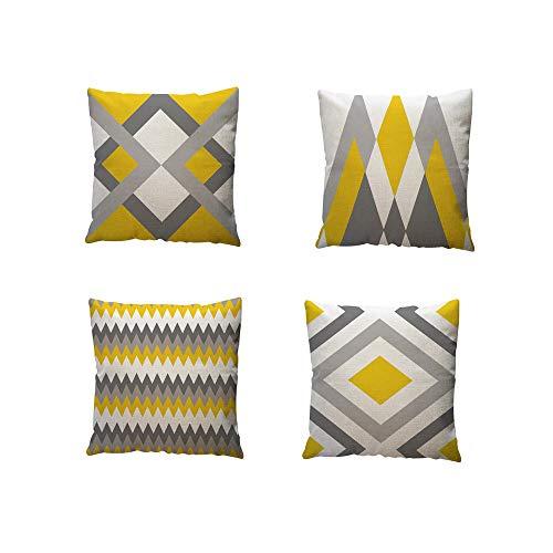 Cojines amarillos con gris. Cuadrados 45x45cm