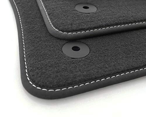 kh Teile Fußmatten passend für T-ROC Premium Qualität Automatten 4-teilig Velours anthrazit, Ziernaht Weiß