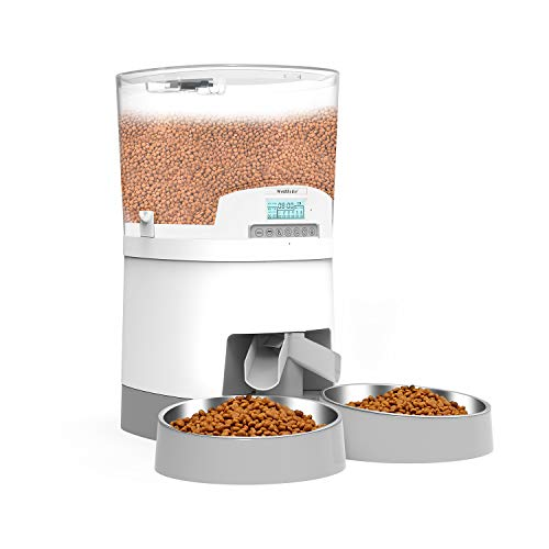 7L Distributore Automatico di Cibo per Due Gatti, WellToBe Alimentatore Automatico per Animali e Cani con separatore, Timer e di Registrazione del Suono e Design Anti-Blocco Fino a 6 pasti al Giorno