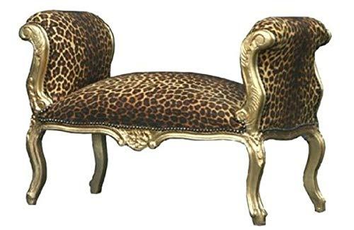 Casa Padrino Barock Schemel Hocker Leopard/Gold - Sitzbank