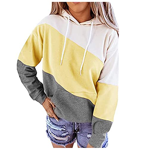 Lightweight Fall Hoodies for Women Plus Size Hooded Sweatshirts Crewneck Striped Print Color Block Fall Clothes Tops Yellow