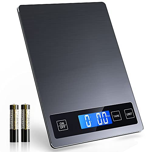 Nicewell Food Scale, 22lbs Digital Kitchen Grey Stainless Steel Scale Weight Grams and oz for Cooking Baking, 1g/0.1oz Precise Graduation,Tempered Glass