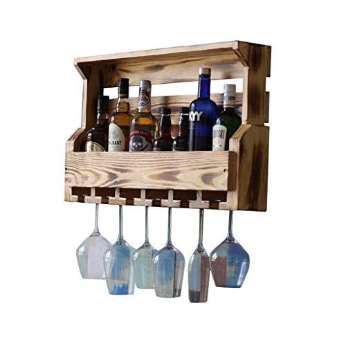 Estante de vino retro minimalista de pared, estante de vino para cocina, hueco, de madera, para vino, para colgar en la pared, color champán y vino (color: A, tamaño: 74 cm)