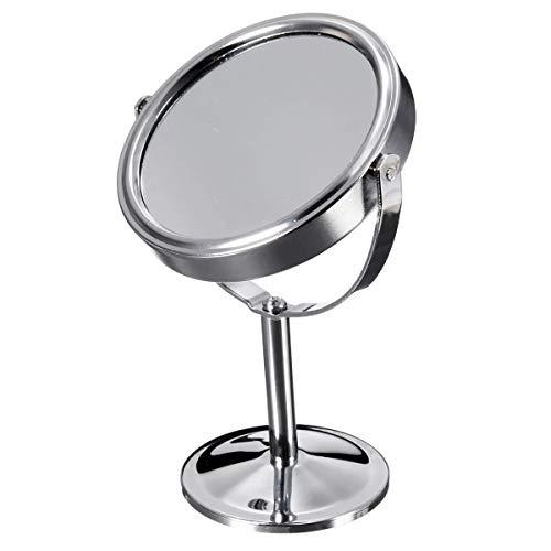 QinWenYan Miroir de Maquillage Beauté Maquillage cosmétique grossissant Portable Rotatif Double Face Miroir pour Salle de Bain, Voyage (Color : Silver