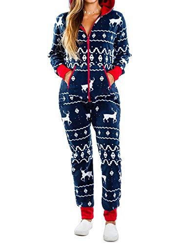 Springcmy Mujer Navidad sin pies Pijama con Capucha Mono Otoño Invierno Caliente de Felpa Ropa de Dormir Ropa de Hogar
